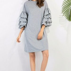 Dresses & Skirts - Gray Dress With Ruffle Sleeves